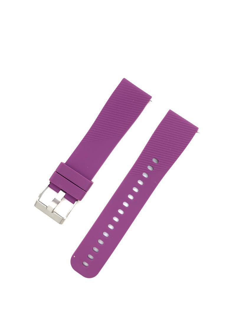 20mm Purple Silicon Rubber Watch Strap Watchband with Quick Release Spring Bars Pins for Samsung Smart Watch Garmin Forerunner 645