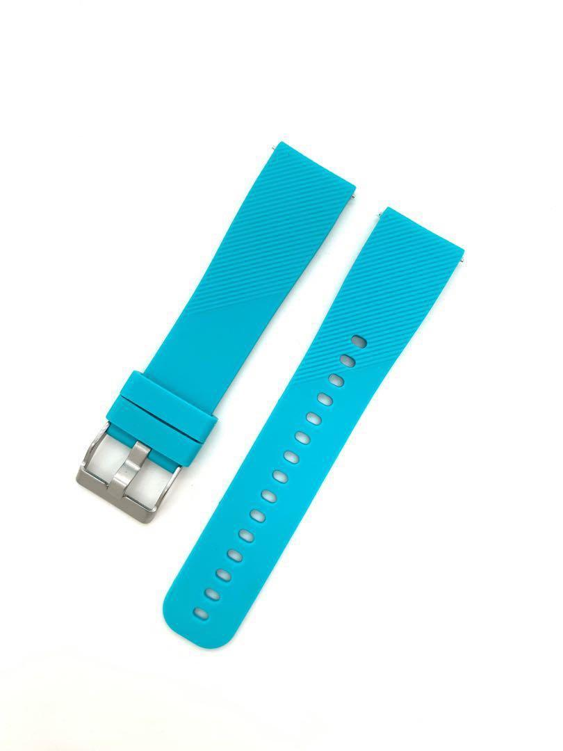 20mm Teal Silicon Rubber Watch Strap Watchband with Quick Release Spring Bars Pins for Samsung Smart Watch Garmin Forerunner 645
