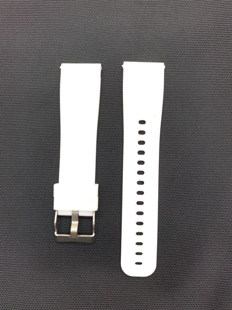 20mm White Silicon Rubber Watch Strap Watchband with Quick Release Spring Bars Pins for Samsung Smart Watch Garmin Forerunner 645