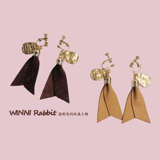 耳環-螺旋夾式-麂皮緞帶(2色)