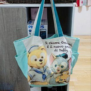 🚚 🌸東京迪士尼正版達菲和畫家貓托特包/大容量側背包 近全新