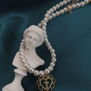愛心珍珠鎖骨鏈