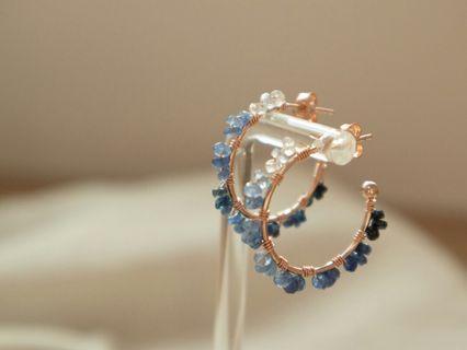 Handmade 925 silver gradient sapphire earring