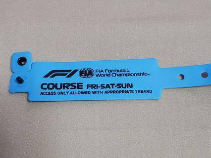 F1 Singapore GP 2018 Access Wrist Band