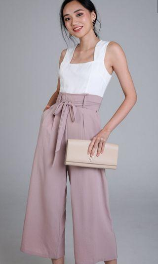 🚚 TVD Callie Paperbag Jumpsuit in Nude M / Lilypirates Match Made Romper White Sand