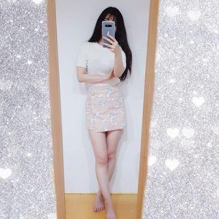 粉色碎花不對稱高腰短裙
