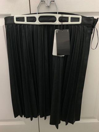 Leather plaid skirt medium