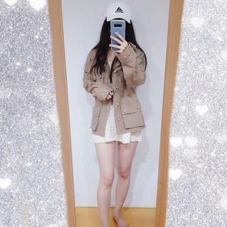 高磅韓版男版森林色工裝外套