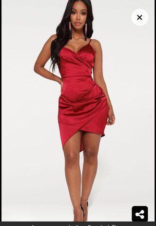 PLT red satin dress