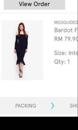 [New with Tag] MISSGUIDED bardot fishtail hem dress