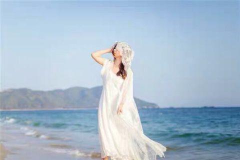 仙氣吊帶大擺長裙 連蕾絲有帽長外套