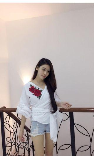 Rose embroidered Wrapped Top