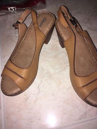 Brown Wooden Block Heel