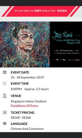 🚚 Cat 1 Andy Lau 2019 Concert Tickets 28 Sep 2019