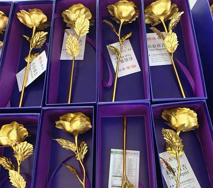 24k金箔玫瑰花 連精美禮盒+禮品袋  順豐包郵。重本包LOVE底座(生日,情人節,畢業之心意小手工禮物)