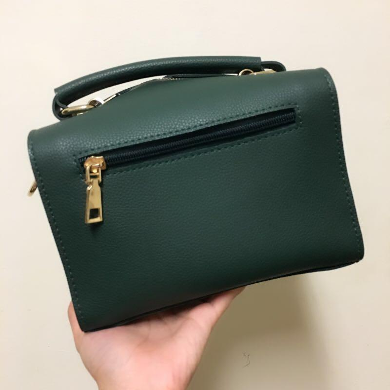 立體小方包/墨綠