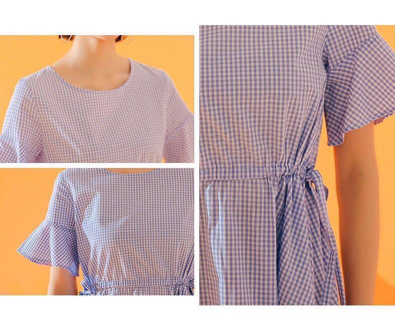 洋裝🍦質感女孩。藍白細格紋