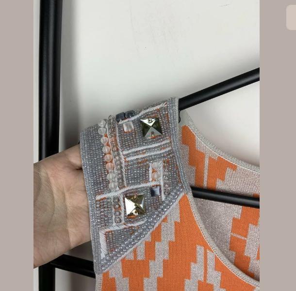 Adrienne Vittadini Collection XL orange silver ikat knit midi dress designer