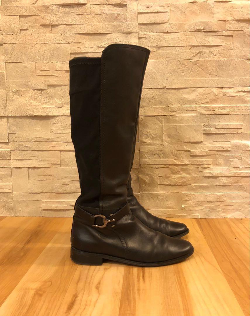 Anne Klein Women's 'Carlene' Riding Boots Black Genuine Leather Size 7.5 - 8