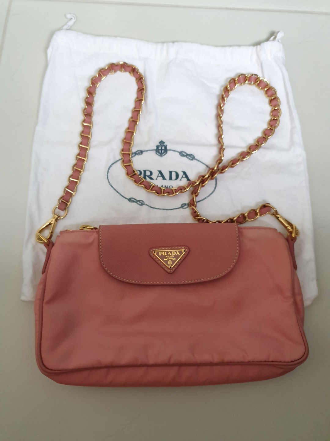 c78d559bf Authentic Prada Chain Sling bag, Luxury, Bags & Wallets, Handbags on  Carousell