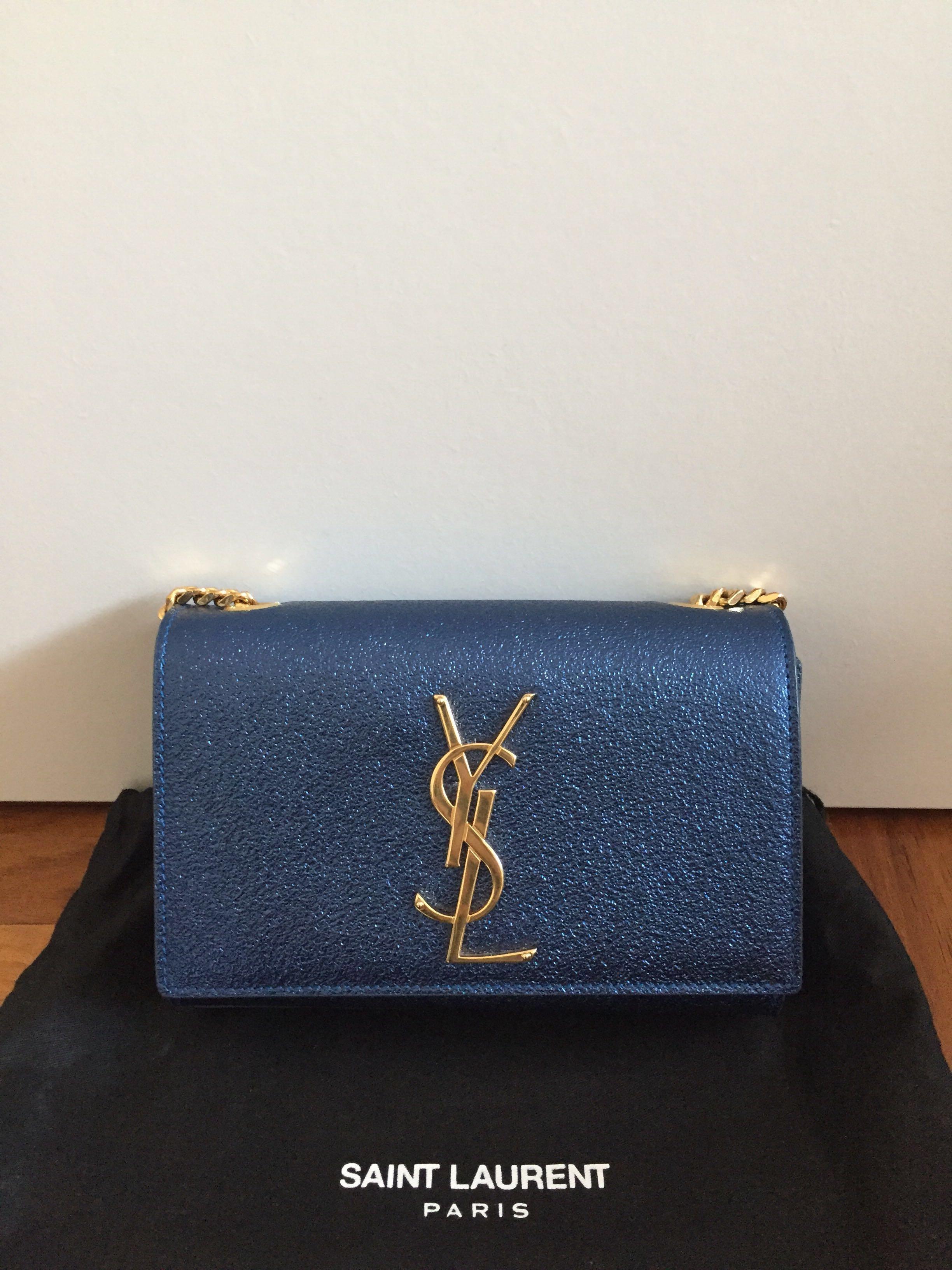 8a2109c59ce Authentic Saint Laurent YSL kate monogram crossbody chain bag - Metallic  blue, Luxury, Bags & Wallets, Handbags on Carousell