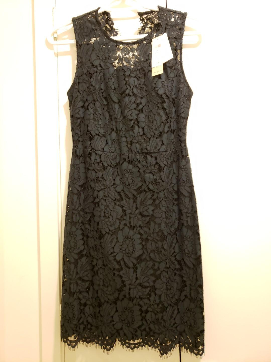 Banana republic 0 P petite brand new with tags navy blue lace pencil dress