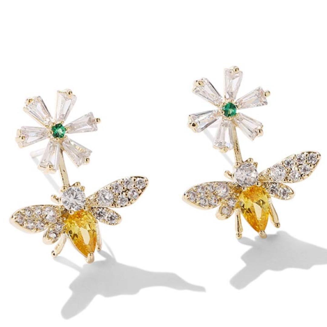 Be Bee Flower 925 sliver Stud Earrings 925銀針耳環 $59 包郵