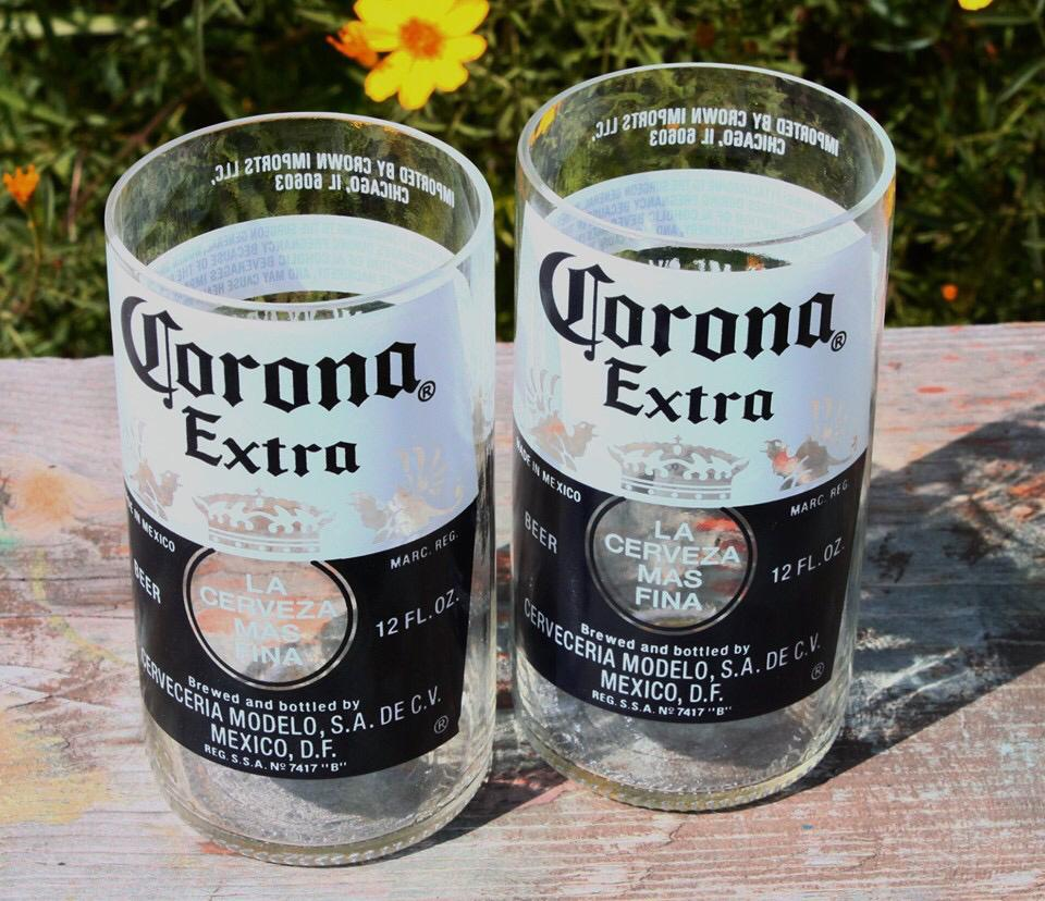 Beer bottle drinking glass set