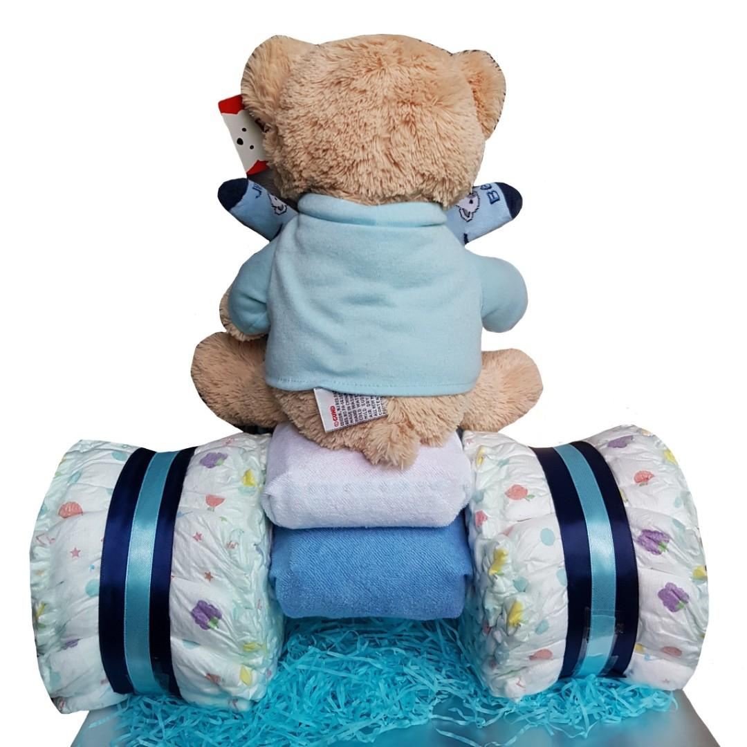 Blue Teddy On The Ride Diaper Cake – By Simply Happiness  🐻