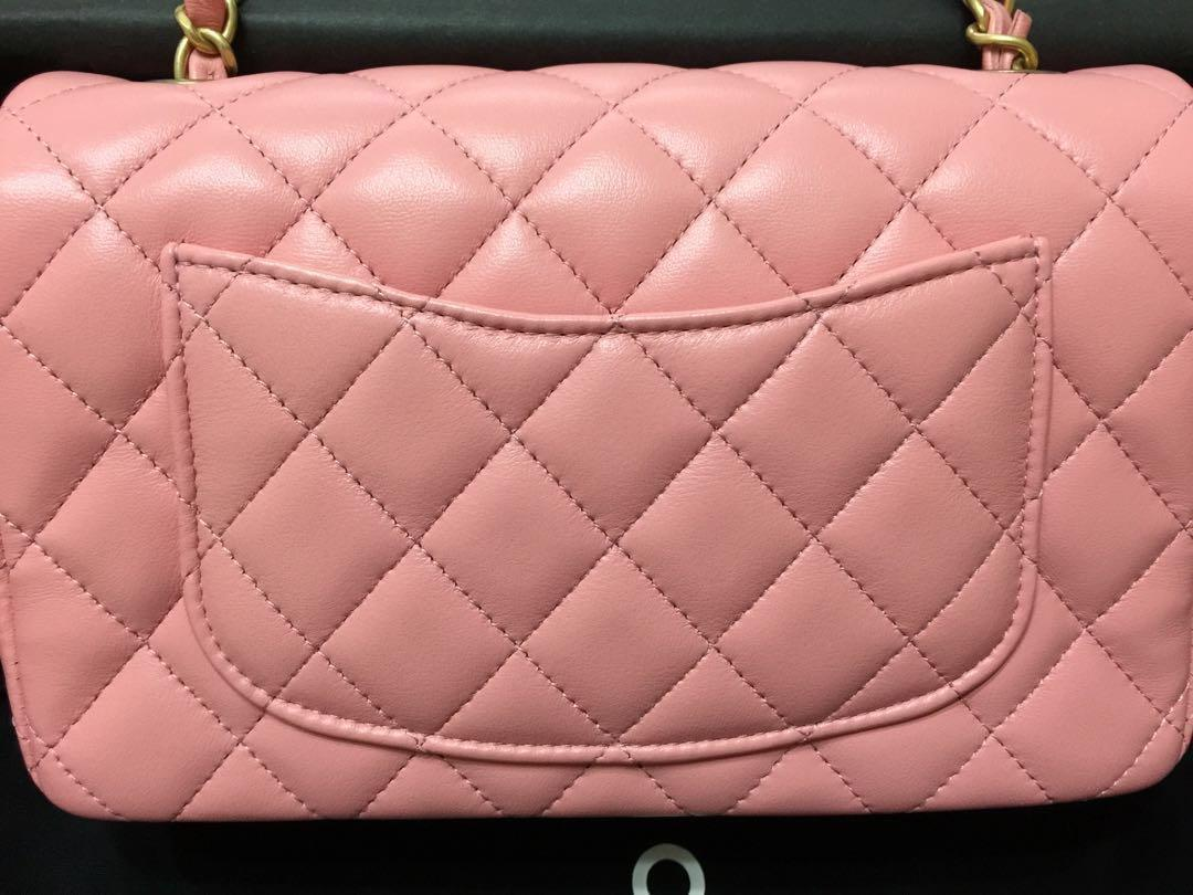 Chanel Limited Edt Mini Rectangular Flap in Pink Lambskin, Matt GHW (Limited 1pc in SG; 19S; Series 28)