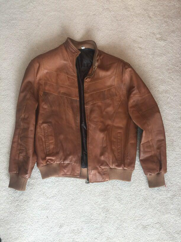 Brown faux leather men's jacket (size XL)
