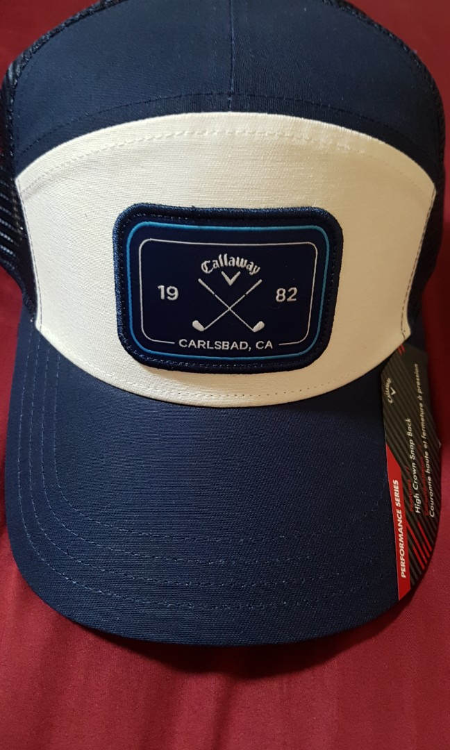 046838f0 Callaway Golf 6 Panel Trucker High Crown Blue Adjustable Snapback Hat/Cap,  Sports, Sports Apparel on Carousell