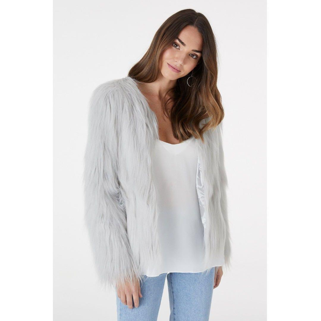 Everly Collective Marmont Faux Fur Jacket - Light Gray