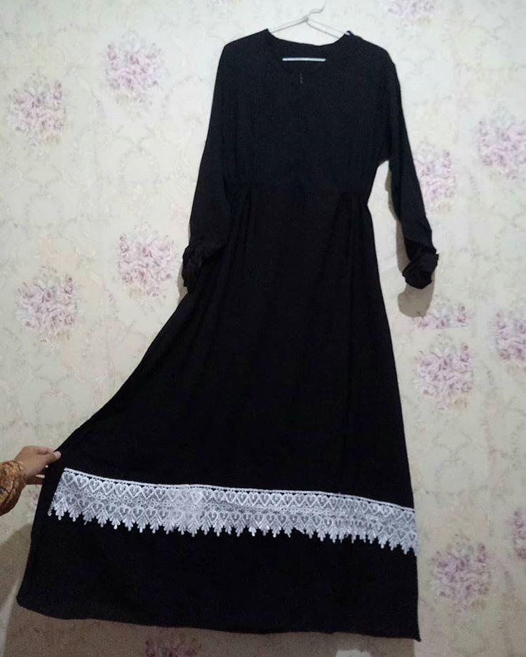 Gamis Long Dress Jubah Gaun Balotelli Jersey Hitam with Renda idul Fitri lebaran #mauthr