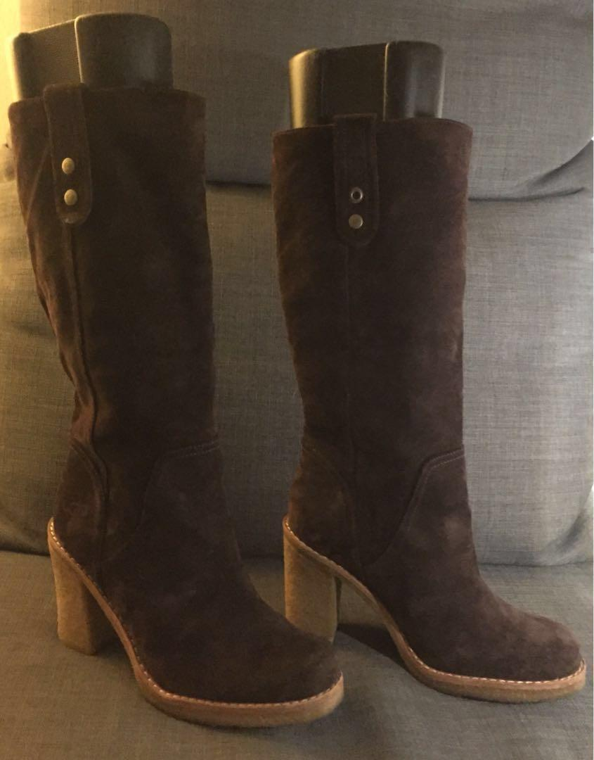 Genuine UGG Knee High AND Fold-Down Booties - 2 Styles in ONE Boot! Real Leather - Size 7 to 7.5 Check out ALL pictures!!