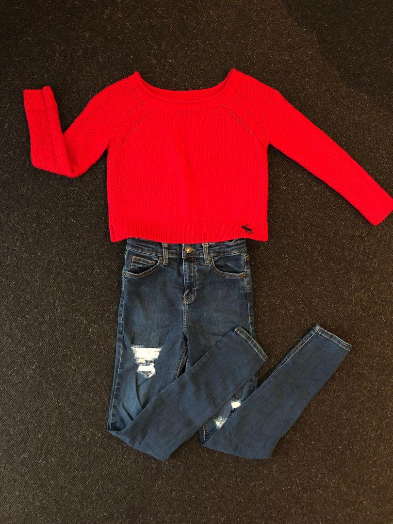 **Reduced** Knit Top/Ripped Bottom