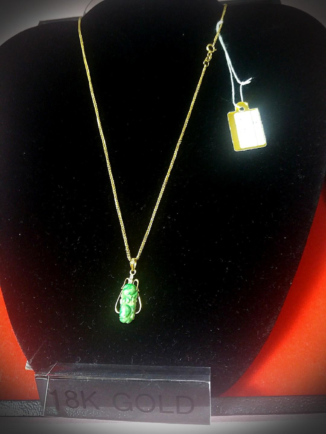 New Arrival! Promotional Fixed Sales! 18K Solid Gold with 2 Diamonds Natural Jadeite A Burmese  Pendant with Solid Gold 18K Gold Chain.  Come with Elegant Red Box for yourself or as Gift to Loves Ones!