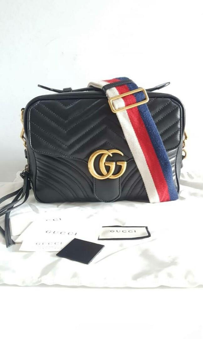 PRELOVED GUCCI marmont matelasse black square with db,swatch,controllo sz25x18x8cm