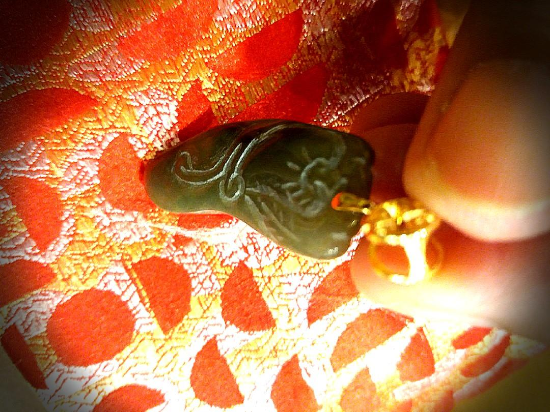Sales! Certified Natural Jadeite A Burmese Jade Pendant.  Beautifully Carved on Both Side. 925 Gold Plated Hook.  Come with Elegant Red Box for Yourself or Great as Gift!
