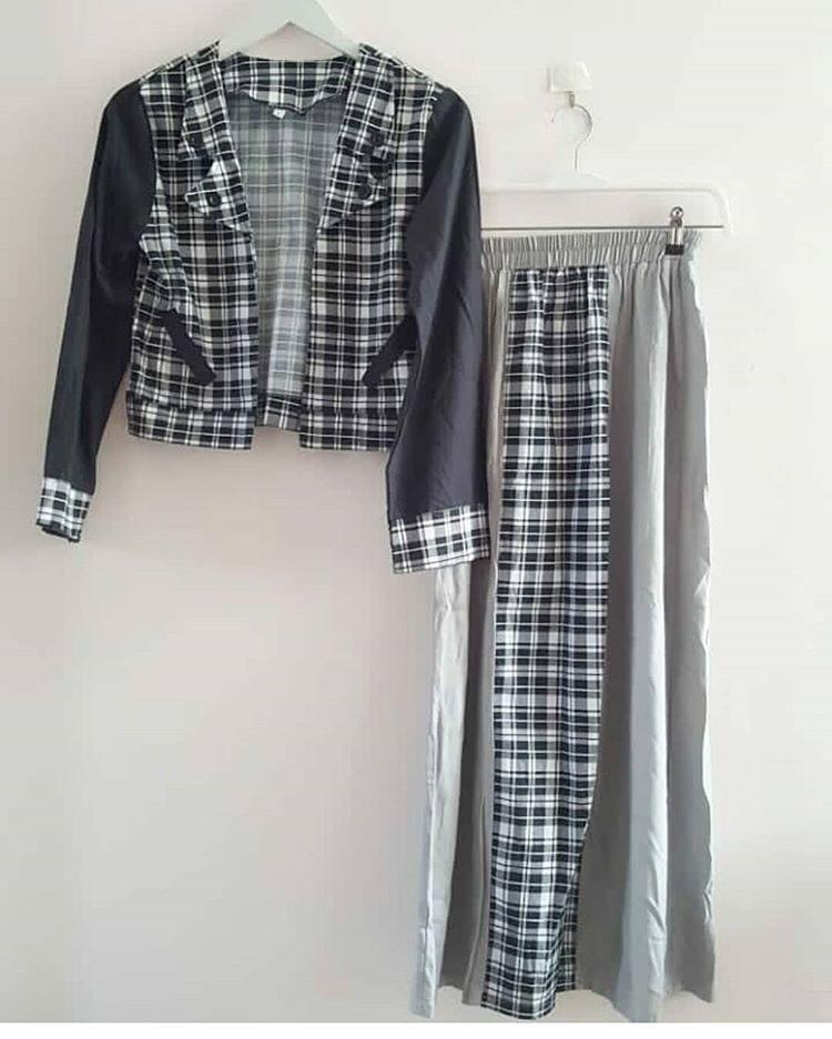 Setelan Baju Kemeja Blazer Outer Tartan Kotak Rok Skirt Monokrom Hitam Putih Lebaran #mauthr
