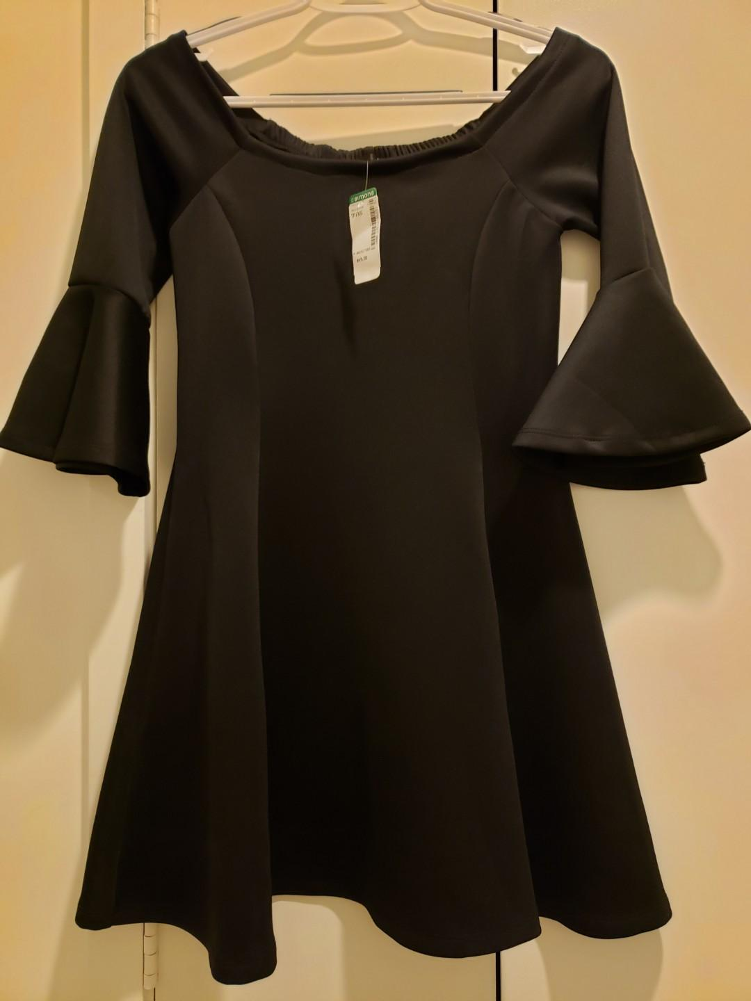 Simon's XS brand new with tags black low shoulder flare dress