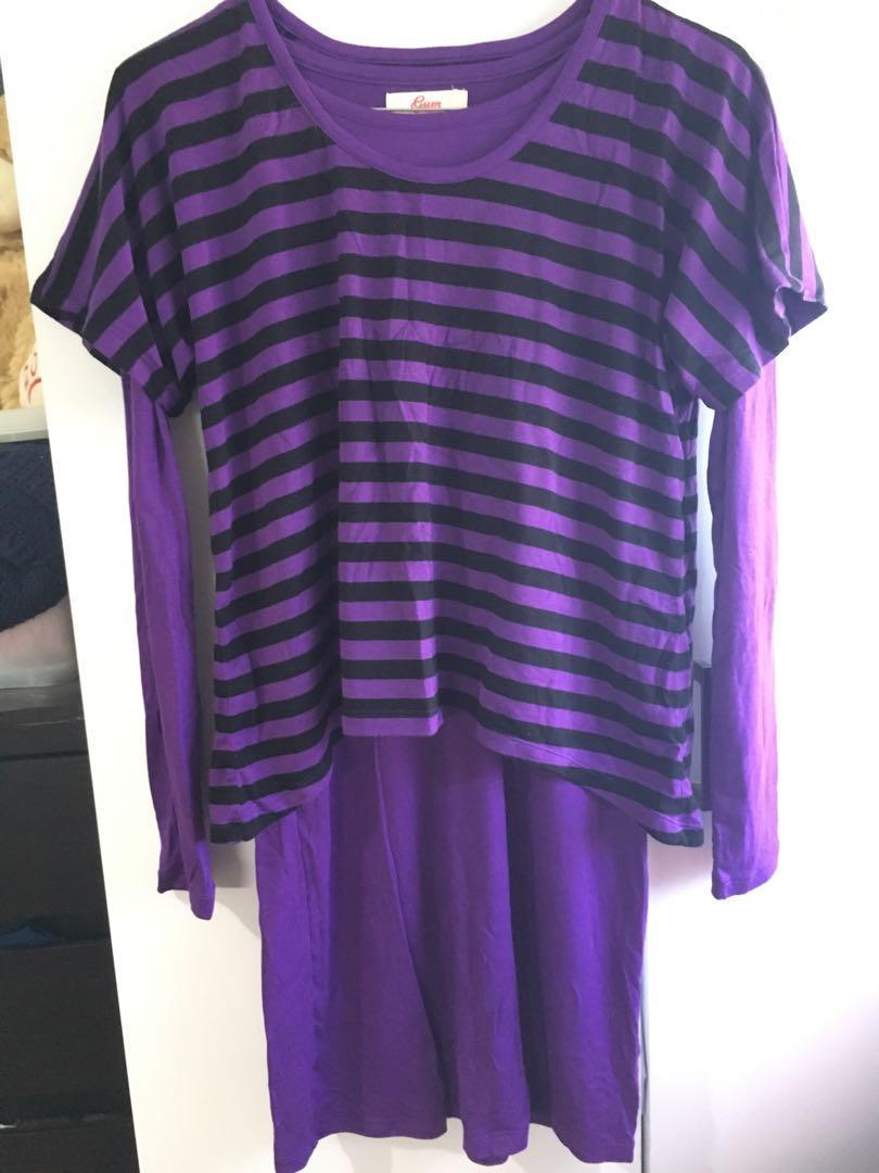TWO PIECE set purple black long sleeve dress stripe top