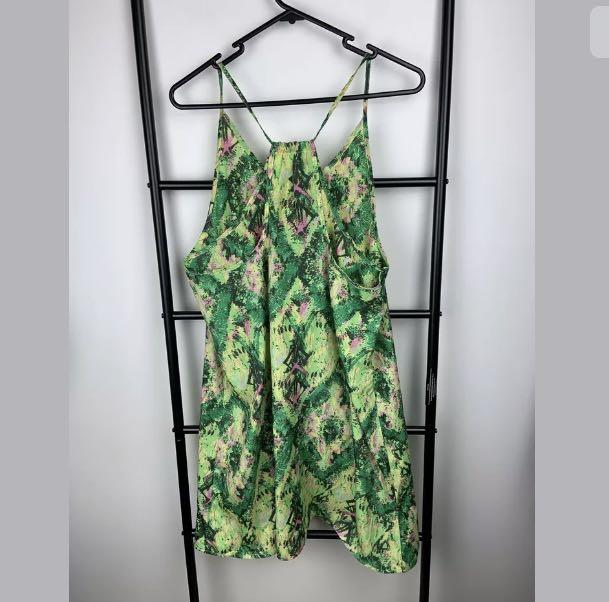 Valleygirl 10 green abstract print tunic slip dress casual summer holiday beach