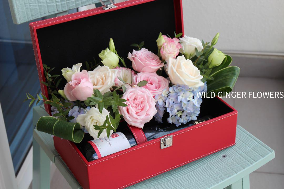 Wine Gift Box With Flower Decor Gardening Flowers Bouquets On Carousell