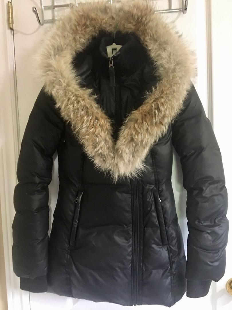 Women's Mackage Adali Coat Black with Fur Trim XXS