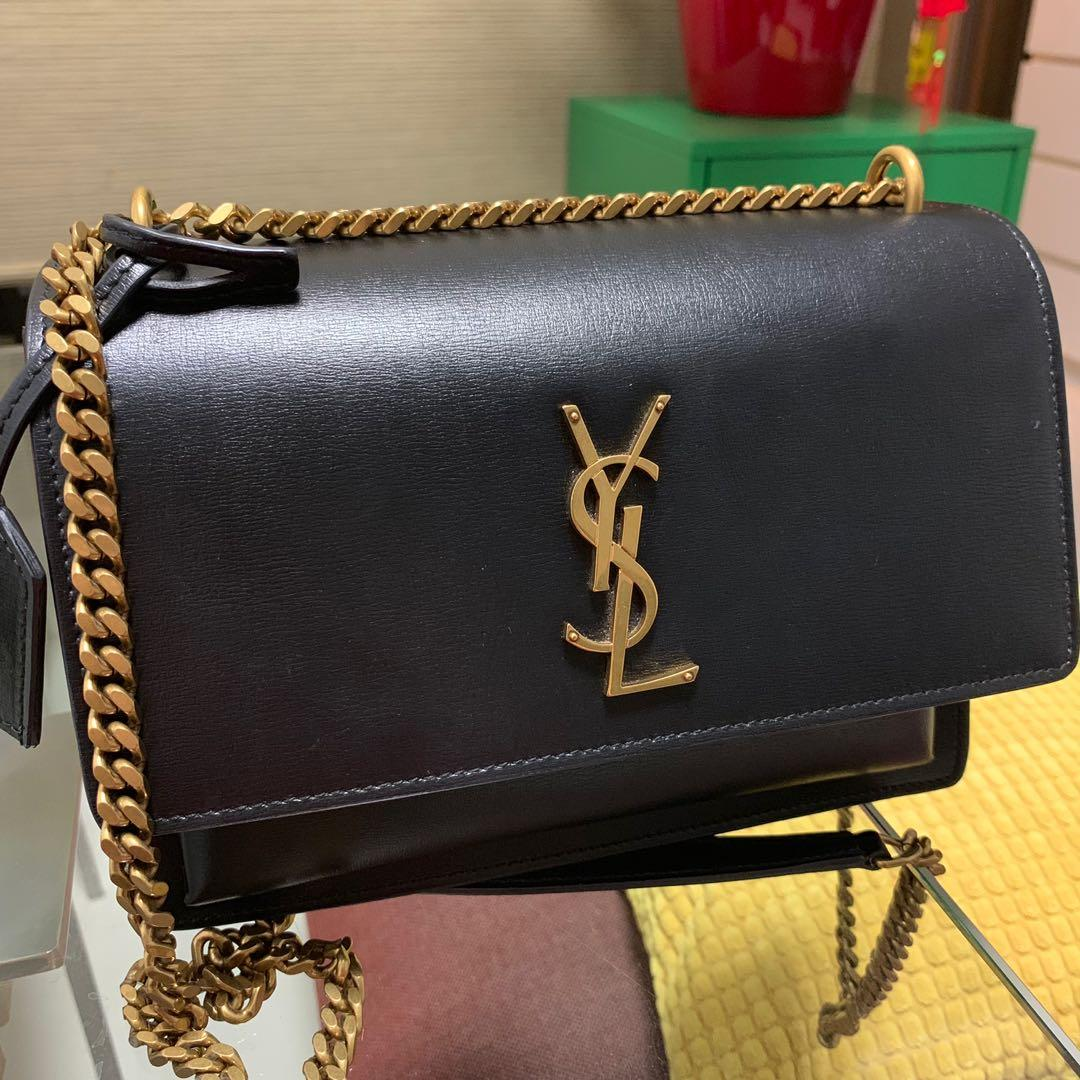 85ff3d67 YSL Sunset Medium in Smooth Leather ( black), Luxury, Bags ...