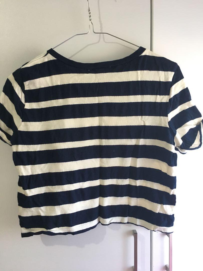 ZARA Crop Top Stripe Navy White