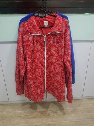 Red printed Adidas Windbreaker Jacket