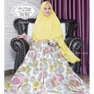 BN Muslimah Abstract Yellow White Modest Dress with Khimar Set