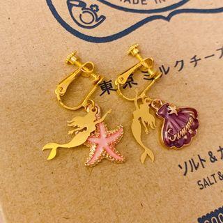 Handmade Ariel Mermaid Earrings Earclip 美人魚耳環耳夾